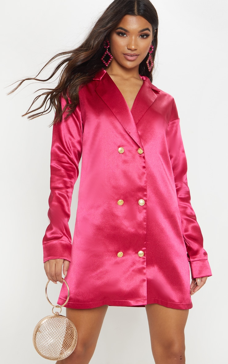 Fuchsia Satin Button Blazer Dress