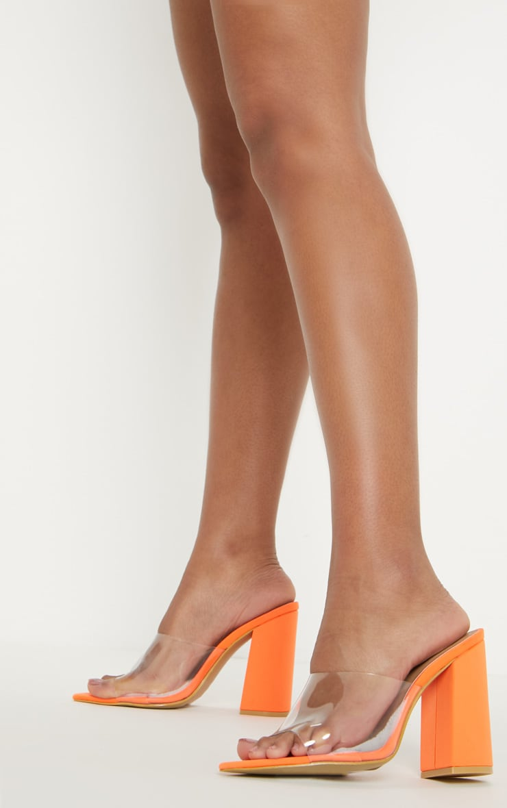 Orange Block Heel Point Toe Mule 2