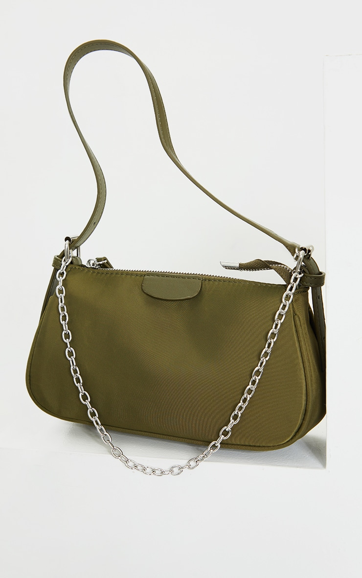 Olive Nylon Silver Chain Shoulder Bag 2