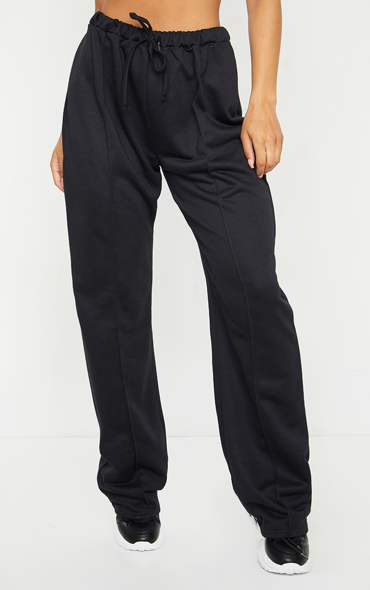 Black High Waist Seam Detail Wide Leg Joggers 2
