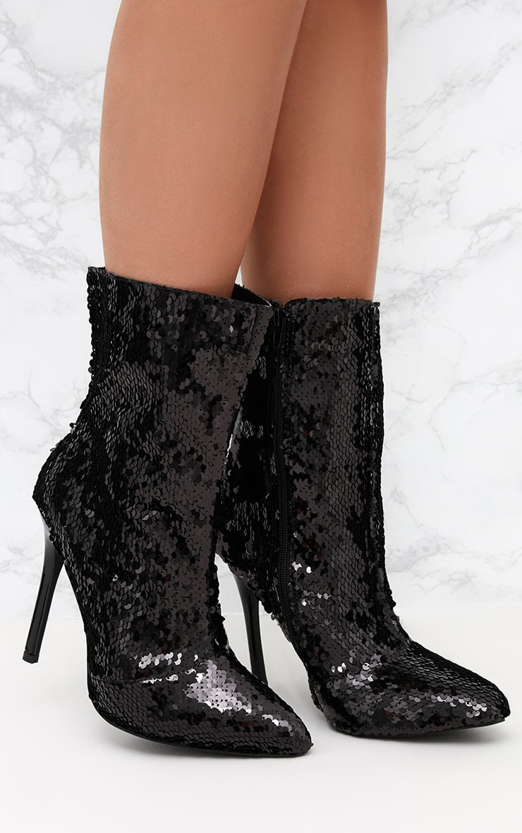 786c88cbc74 Black Sequin Heeled Ankle Boot image 1