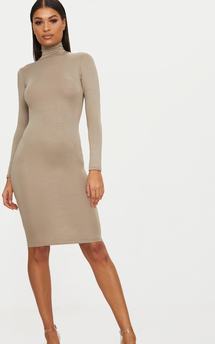 Basic Taupe Roll Neck Midi Dress 1