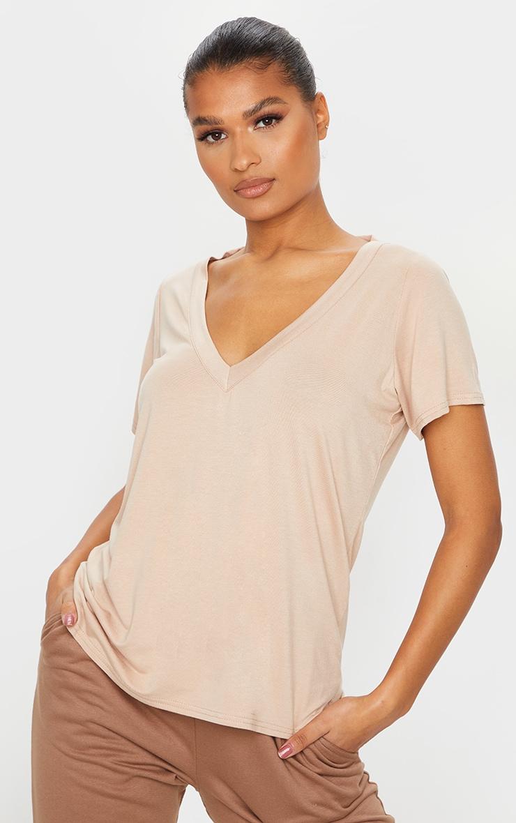 Basic Sand Jersey V Plunge T Shirt 1
