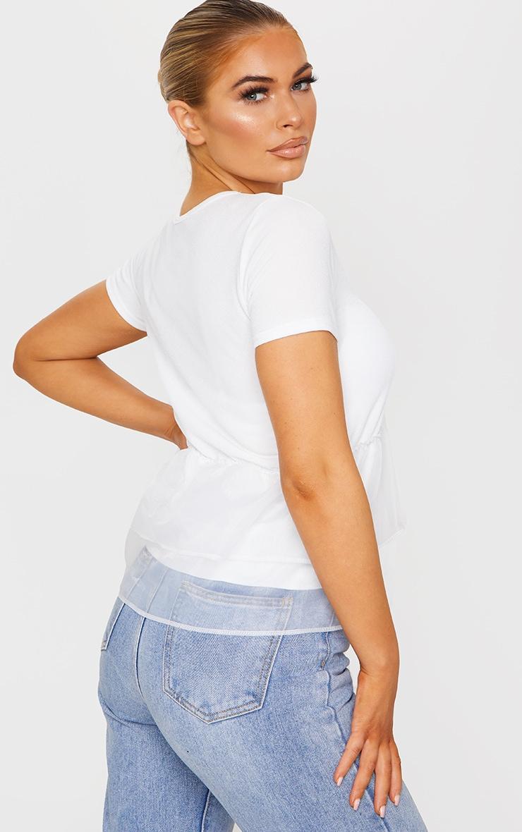 White Organza Frill T Shirt 2