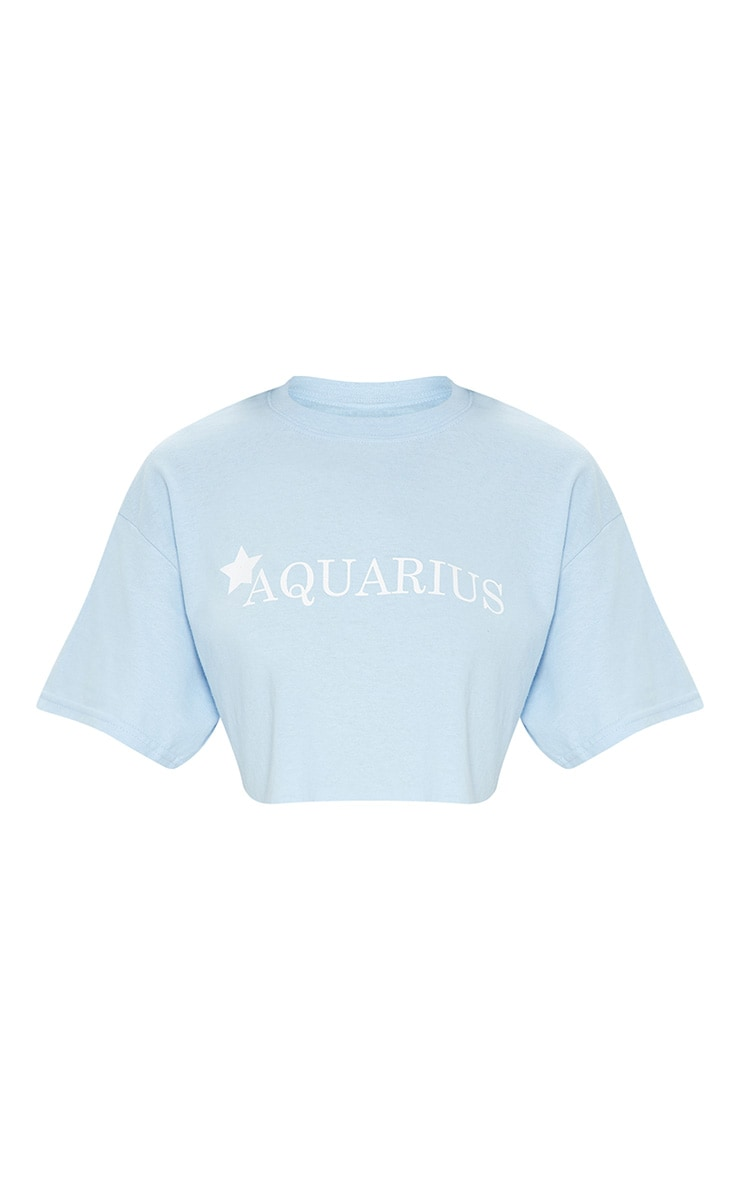 Baby Blue Star Sign Slogan Crop T Shirt  3