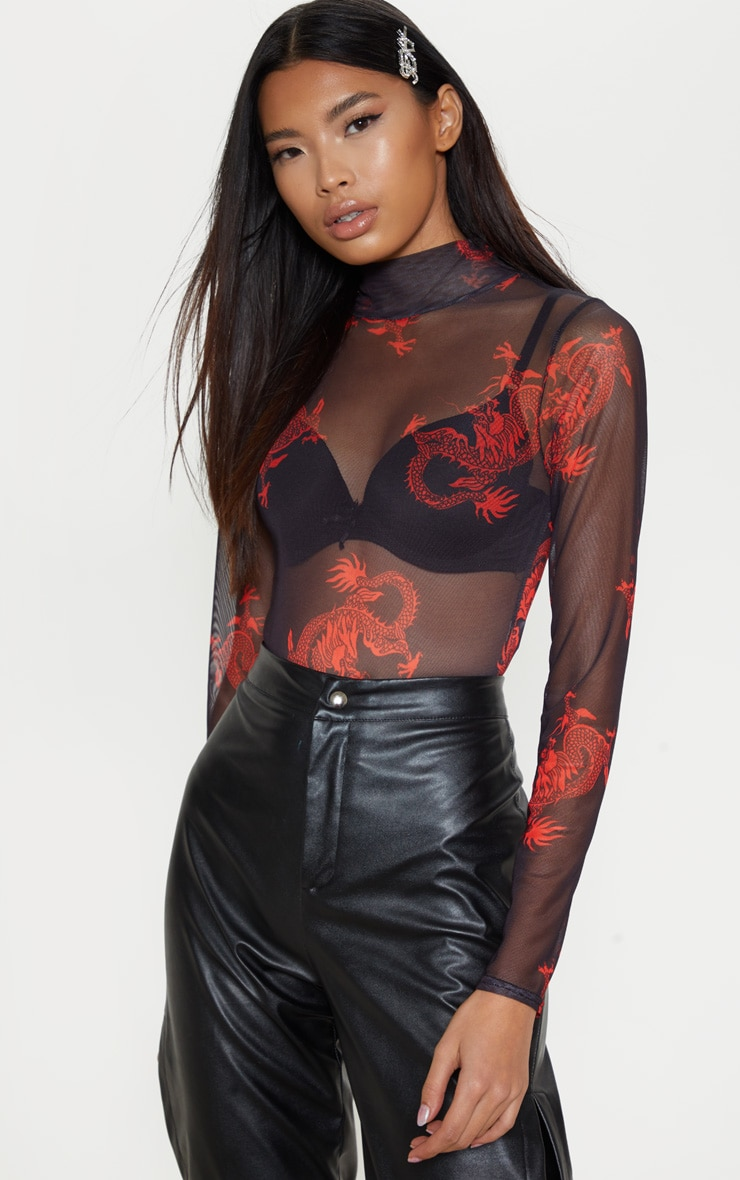 Black Dragon Printed Mesh High Neck Long Sleeve Bodysuit 1