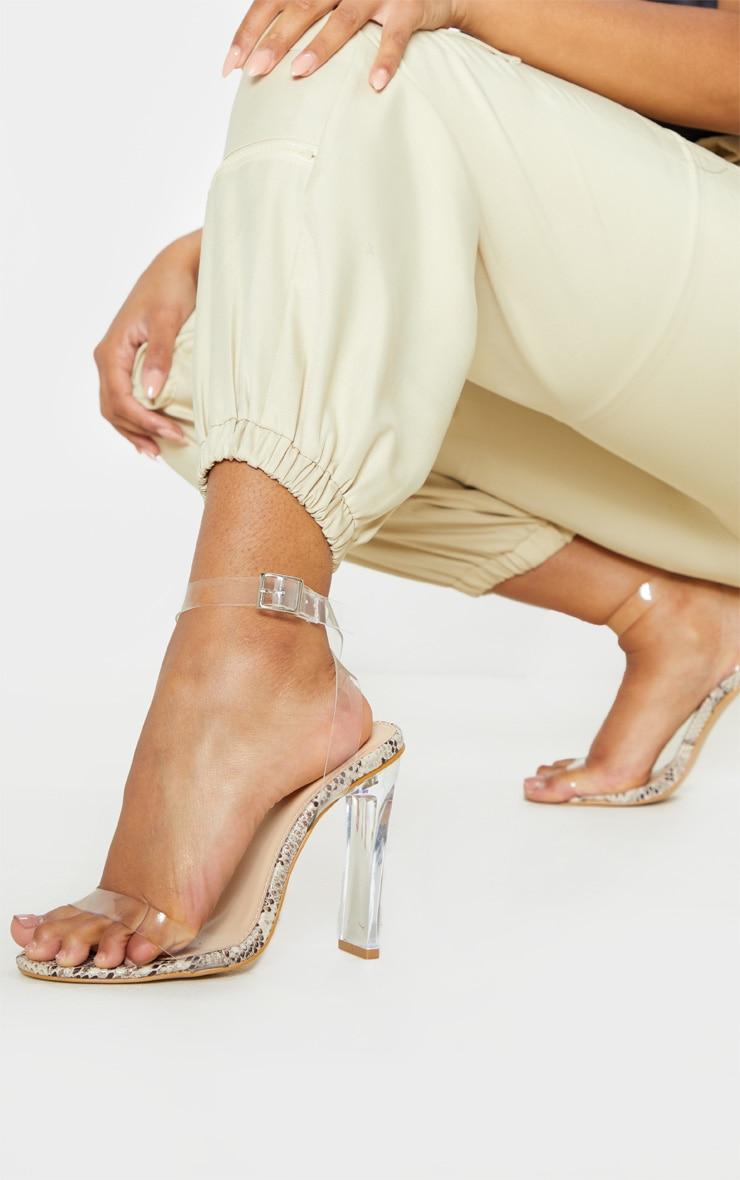 Snake Flat Heel Clear Strap Sandal 2