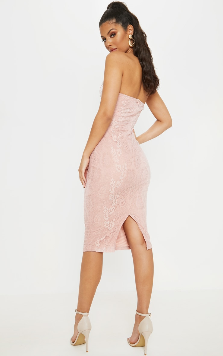 Dusty Pink Satin Bustier Lace Midi Dress 2