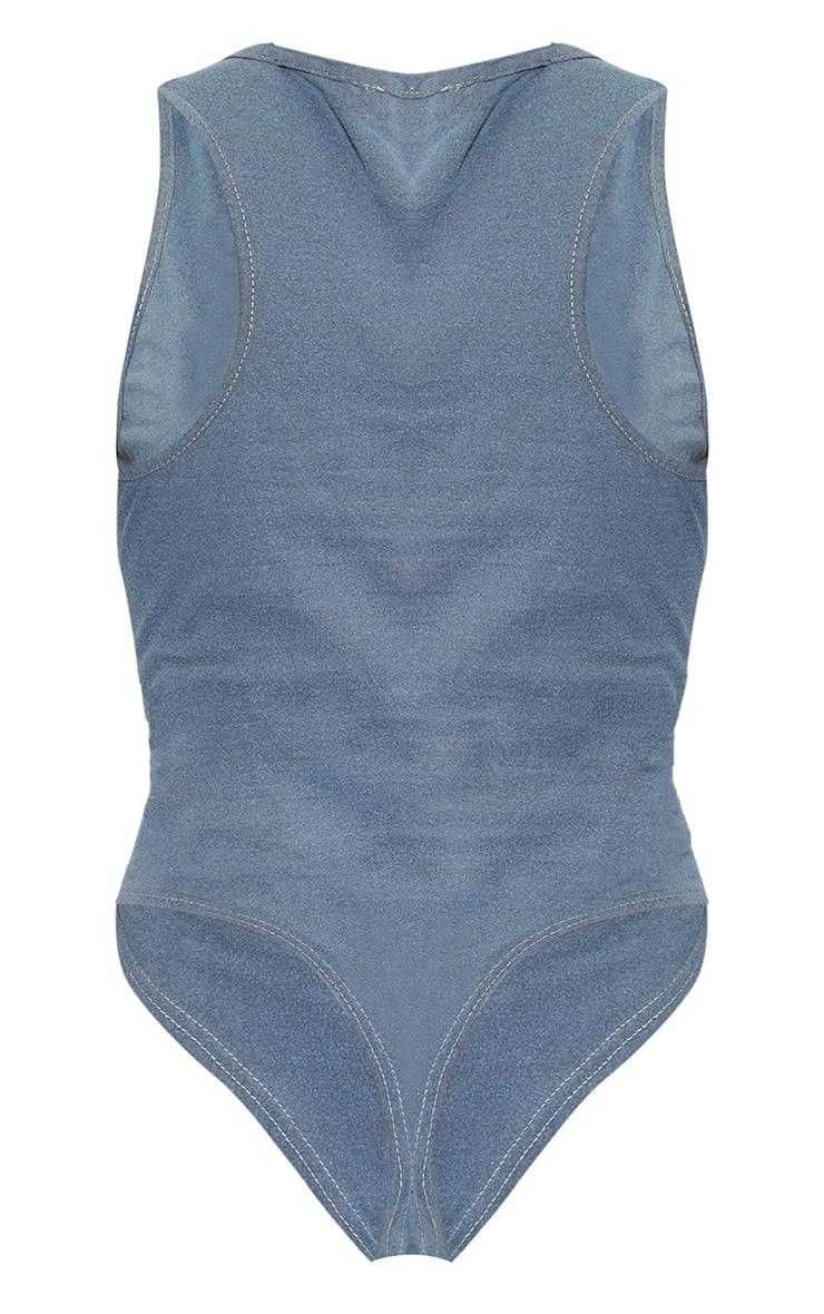 Charcoal Vintage Wash Super Bowl Print Sleeveless Bodysuit 6