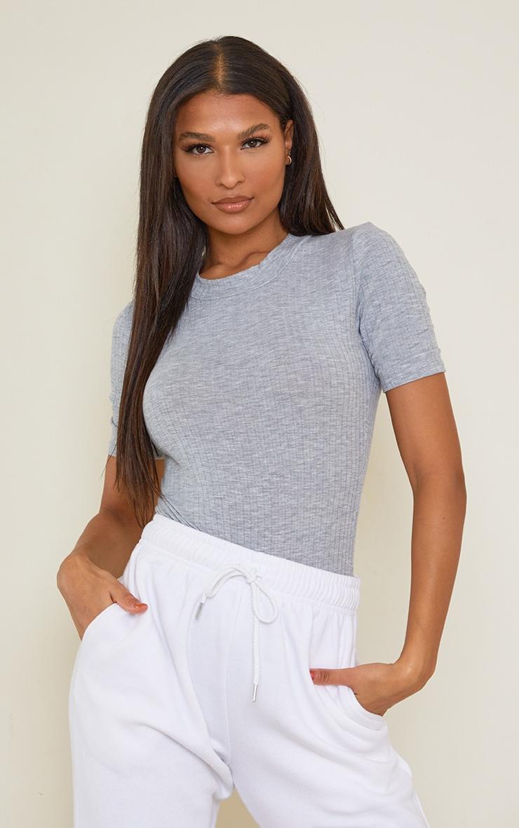 Ash Grey Marl Rib Short Sleeve Bodysuit
