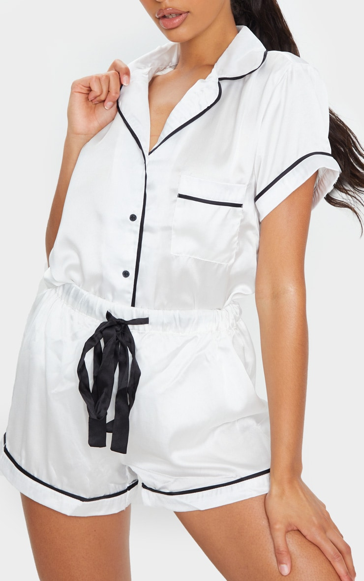 White With Contrast Pipe Detail Satin PJ Set 4
