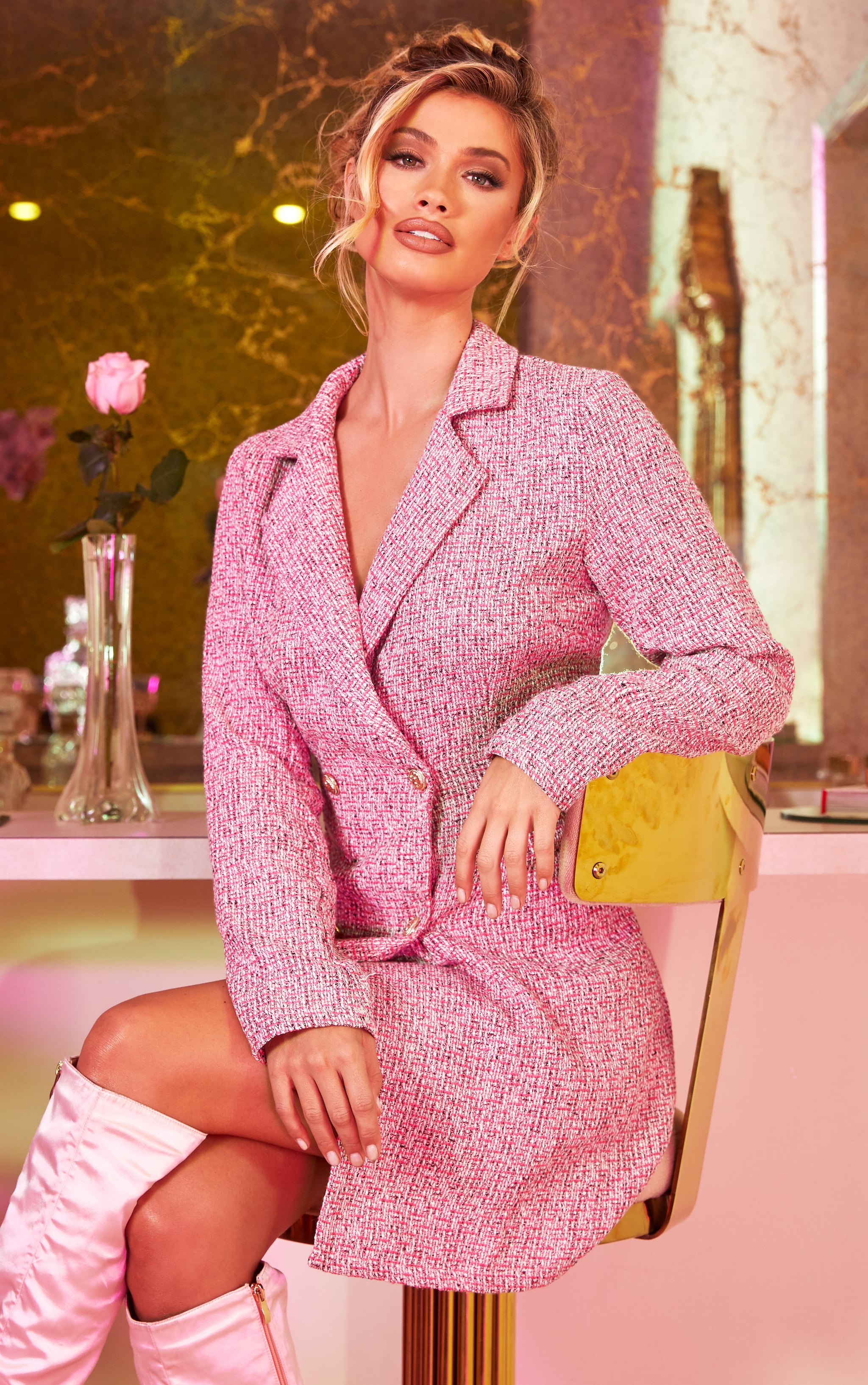 Pink Tweed Gold Button Blazer Dress 1