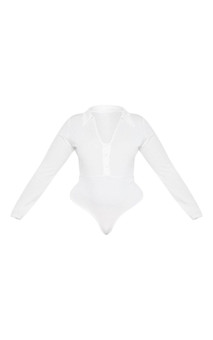 Plus Cream Button Collar Bodysuit 3