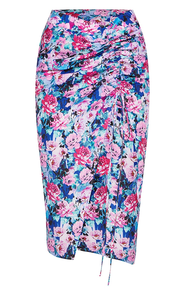 Blue Woven Floral Ruched Detail Midi Skirt 5