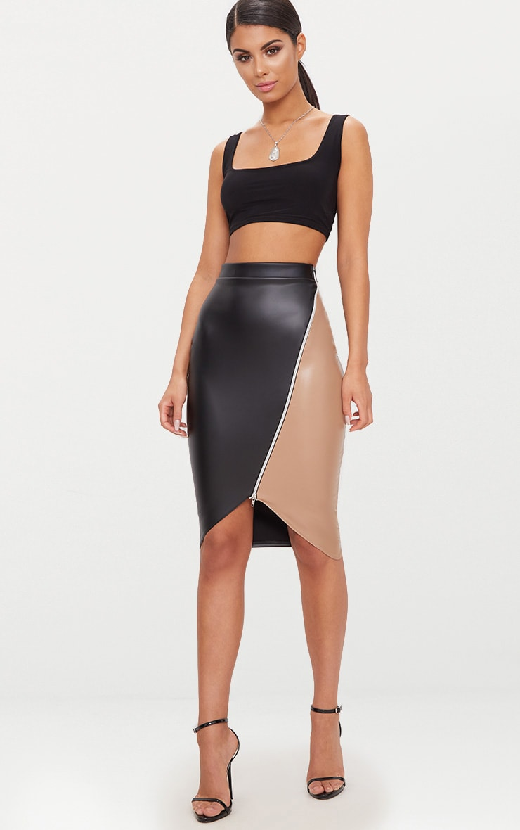 Black Faux Leather Asymmetric Zip Midi Skirt 5
