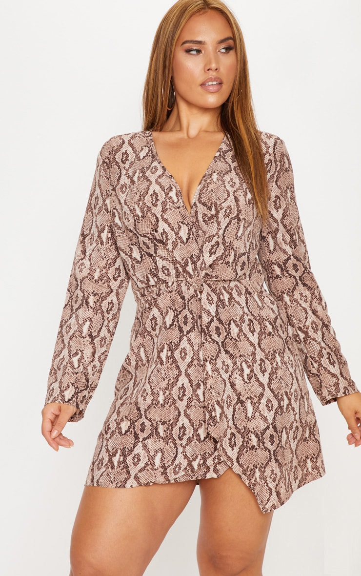 Plus Taupe Snake Print Long Sleeve Wrap Dress 1