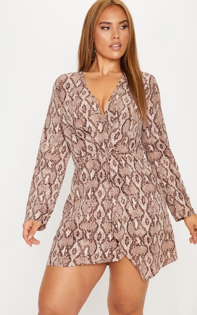 Plus Taupe Snake Print Long Sleeve Wrap Dress