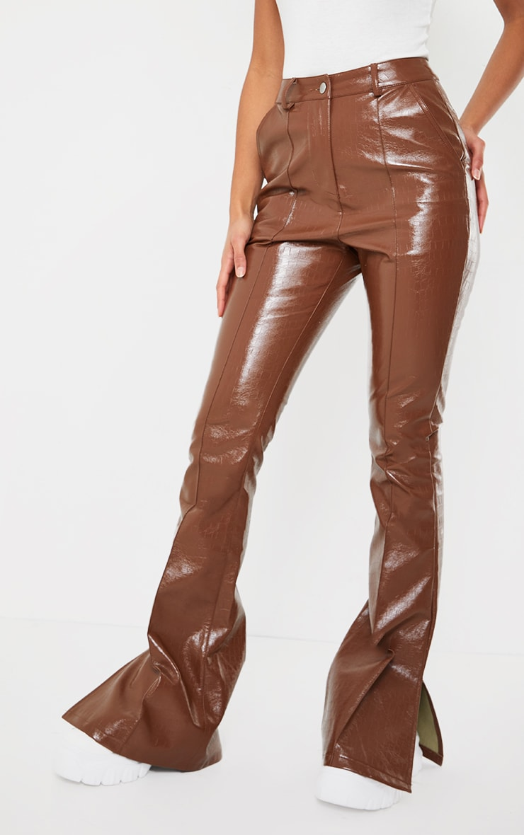 Chocolate Croc Faux leather Flared Trousers 2