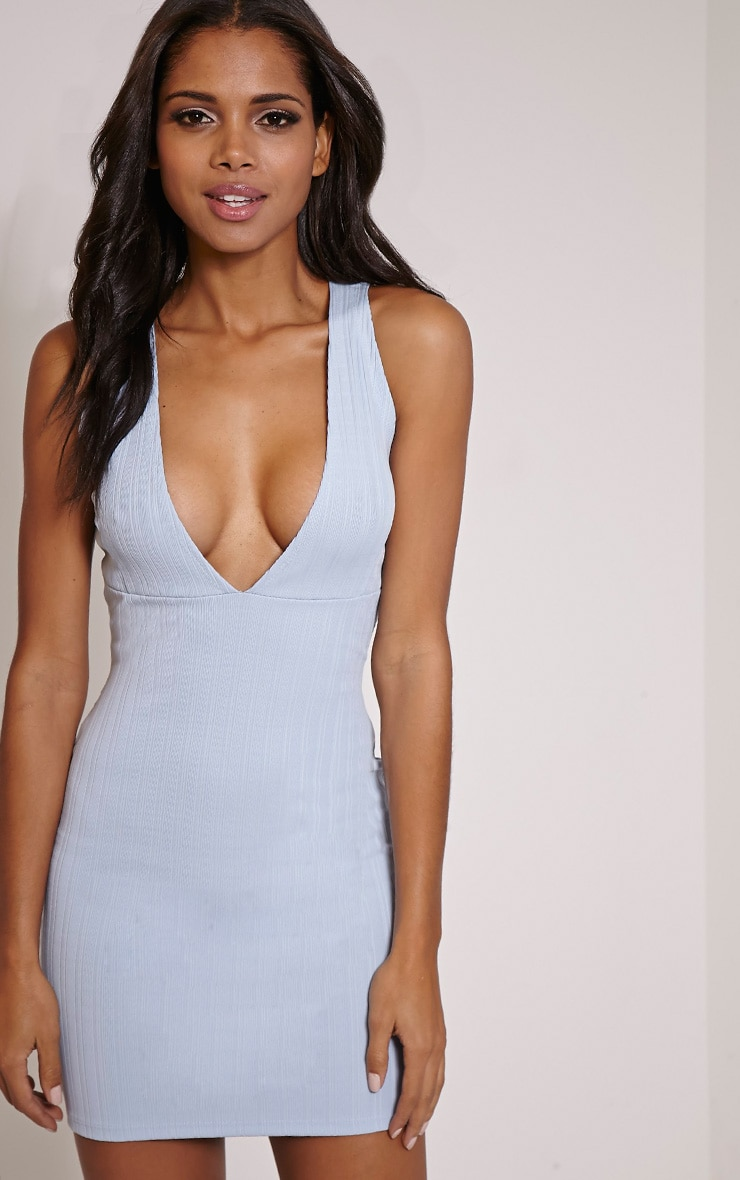 Flavia Pale Blue Ribbed Deep V Mini Dress 1