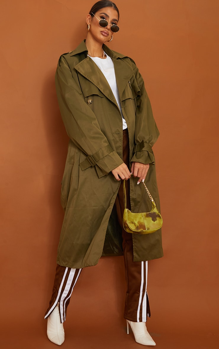 Tall Khaki Oversized Belted Midi Trench 1
