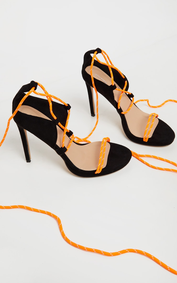 Black Hiker Lace Up Tie Heeled Sandal 4