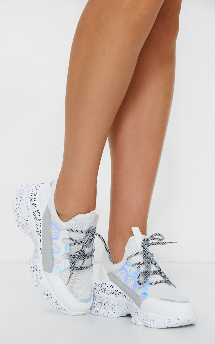 White Chunky Detail Sole Contrast Lace Sneakers 3