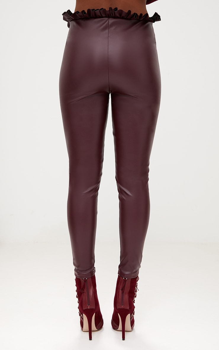 Maroon Faux Leather Paperbag Waist Skinny Trousers 4