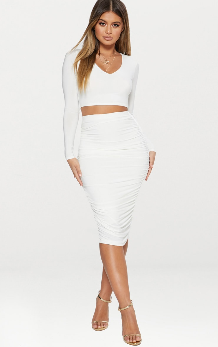 White Slinky Second Skin Ruched Midi Skirt 1