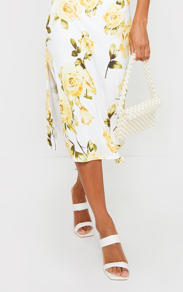 White Floral Cowl Neck Slip Midi Dress 4