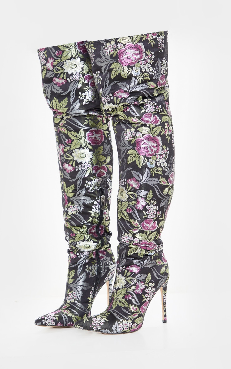 Black Floral Oriental Thigh High Boot 5
