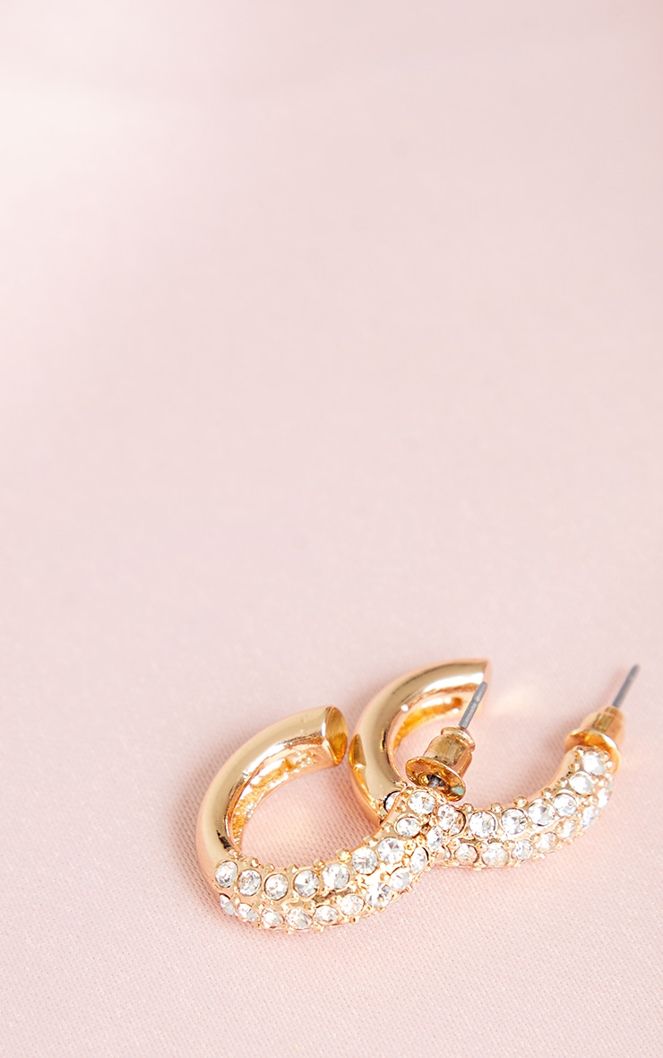 Gold Half Diamante Mini Chunky Hoop Earrings 3