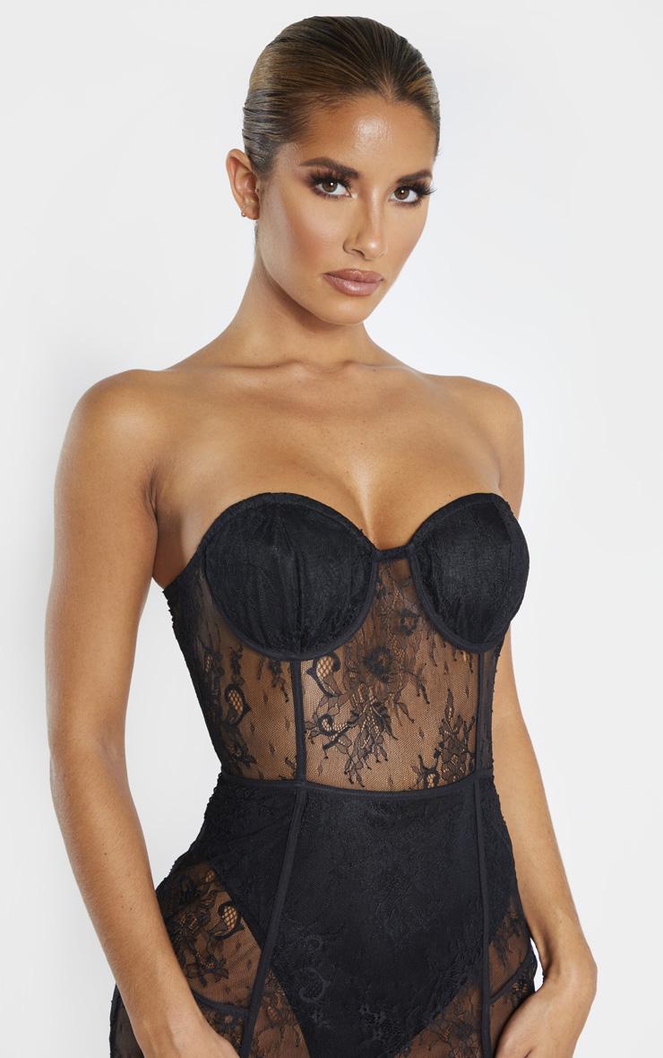 Black Bandeau Cup Detail Lace Midi Dress 5