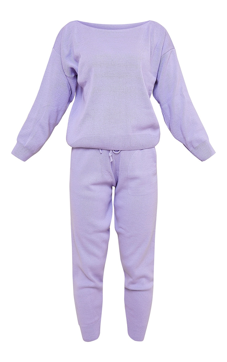 Lilac Slash Neck Knitted Set 5