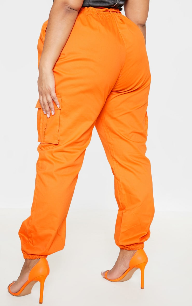 Plus Orange Utility Buckle Belt Joggers 4