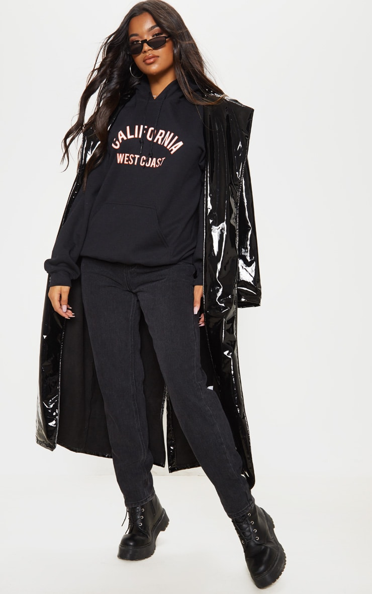 Black California Slogan Oversized Hoodie 4