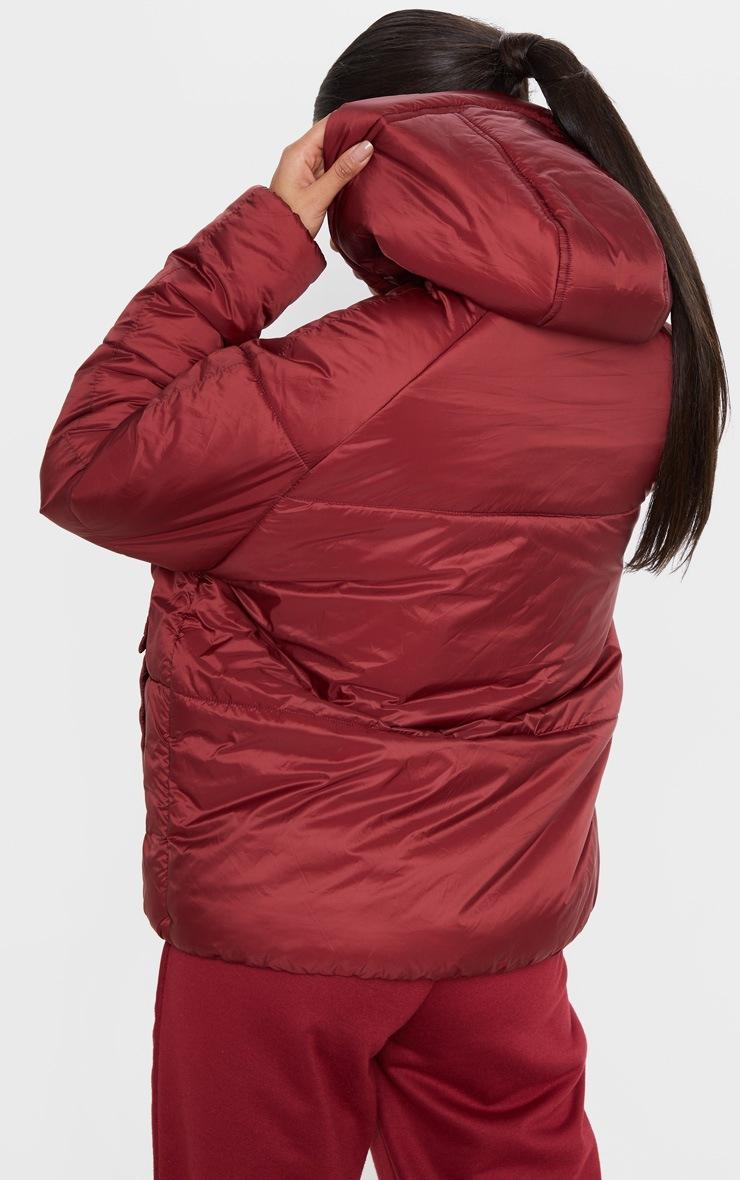 Burgundy Pocket Front Hooded Puffer  2