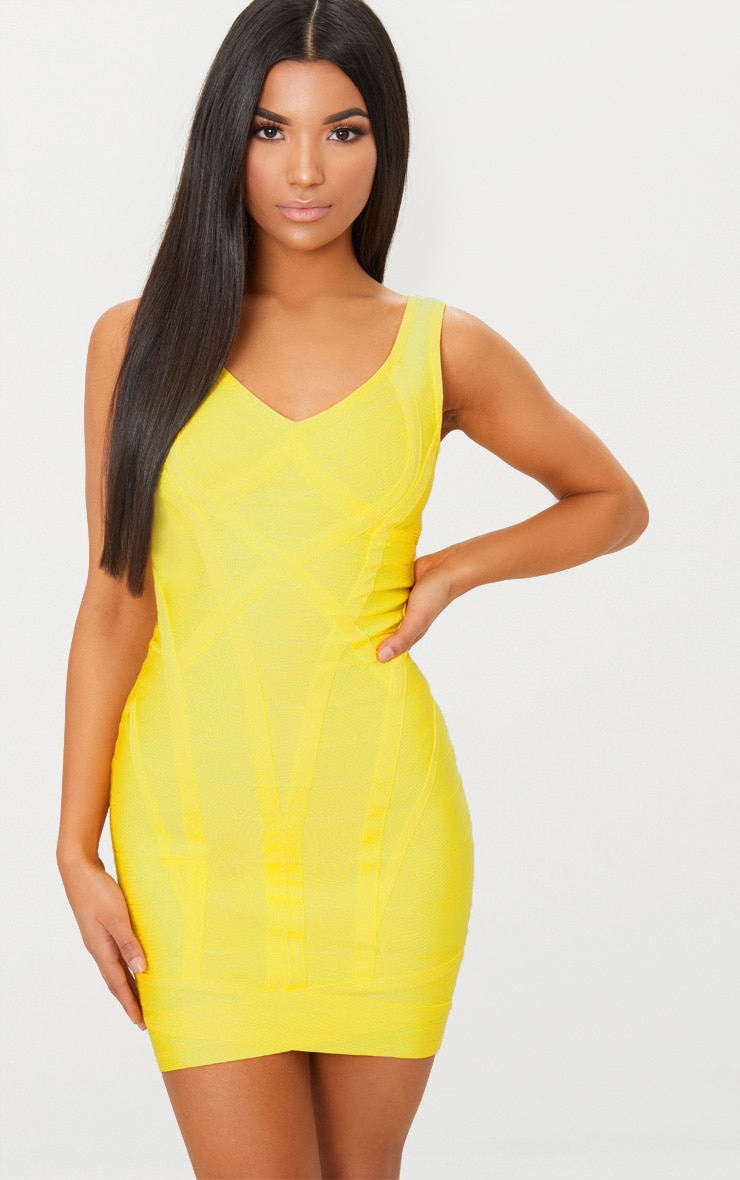 Yellow Bandage Plunge Wrap Skirt Bodycon Dress 1