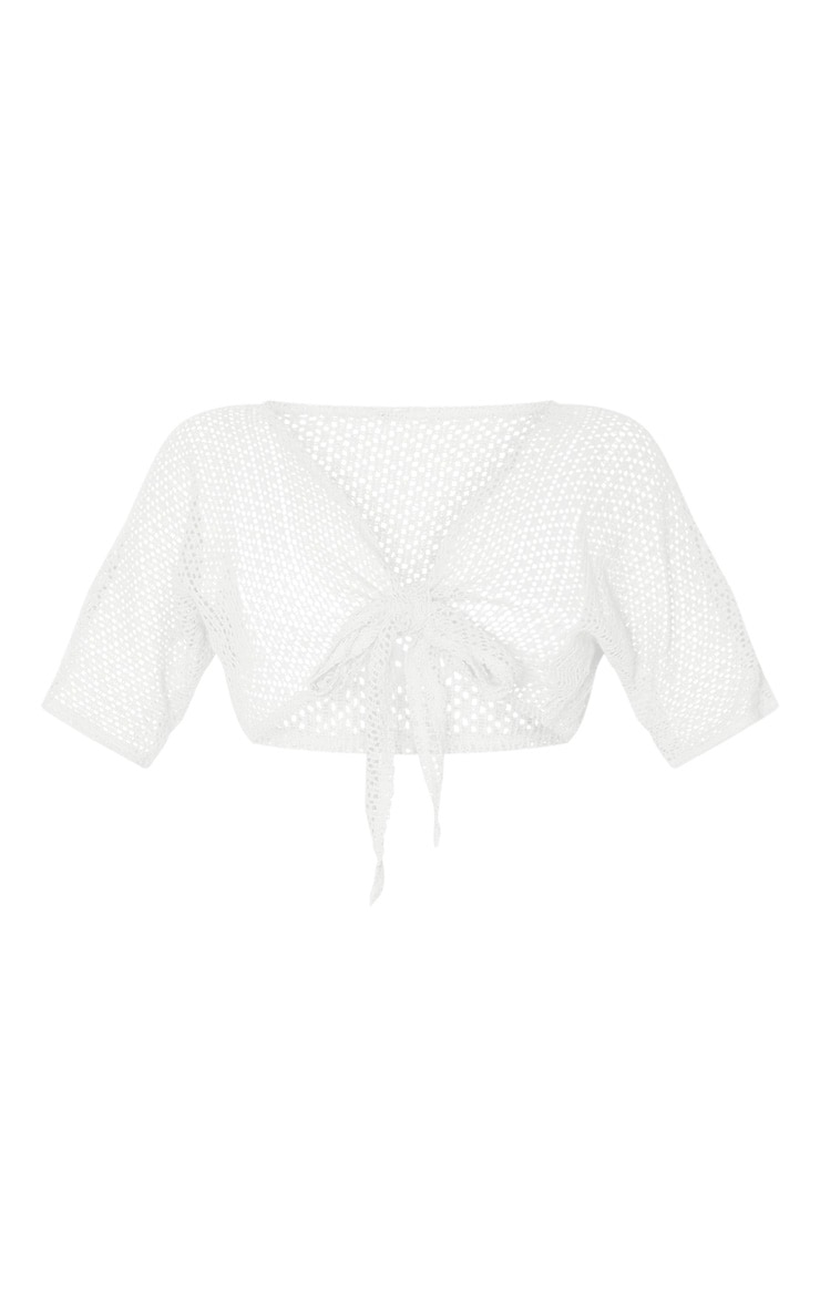 Cream Crochet Tie Front Beach Top 3