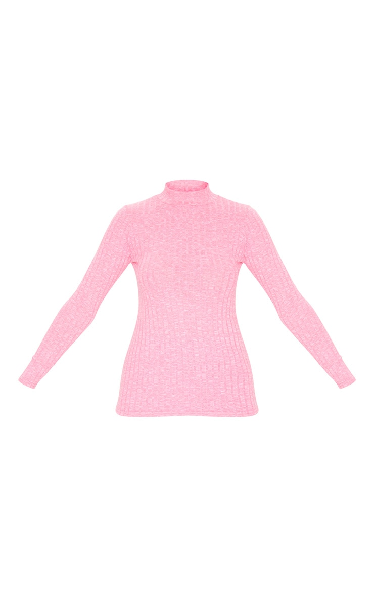 Hot Pink High Neck Long Sleeve Top 6