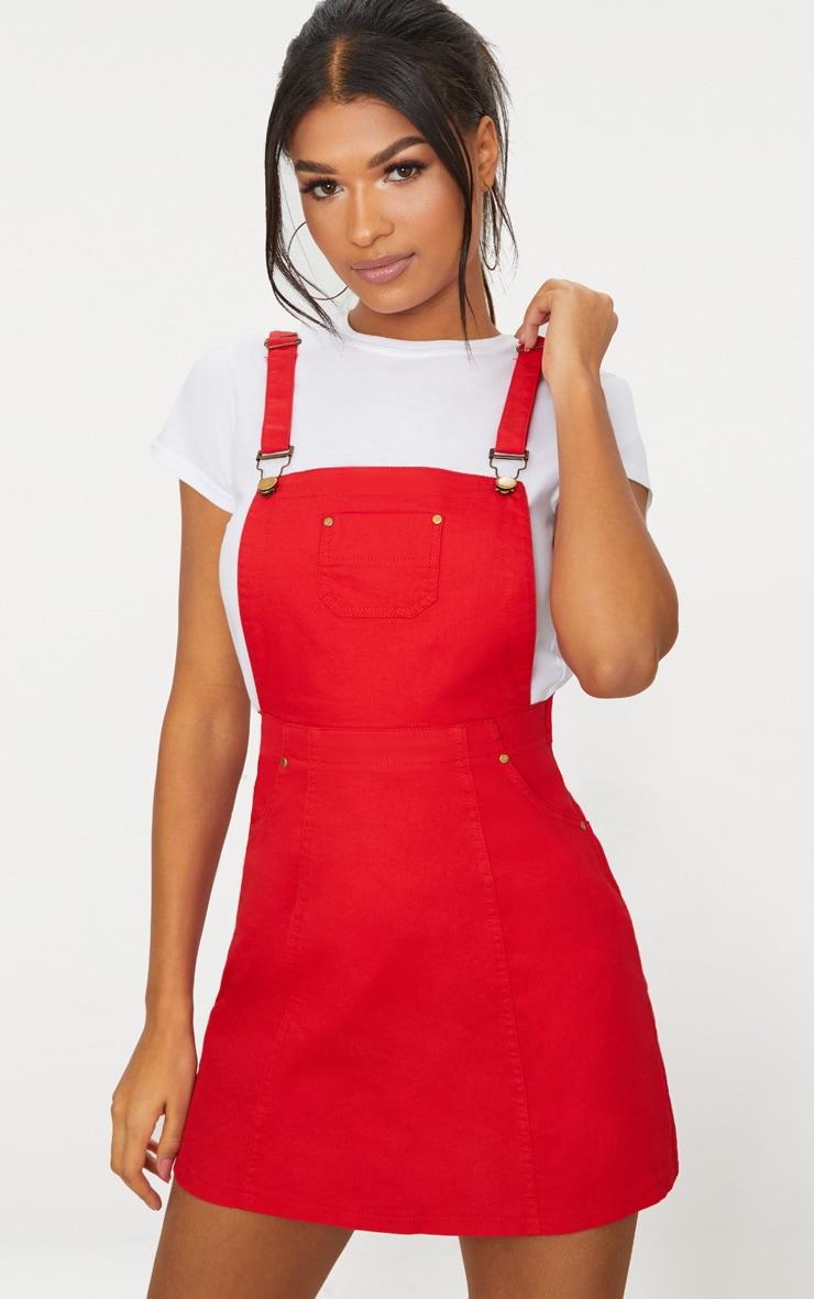 Martine Red Denim Pinafore Dress image 1