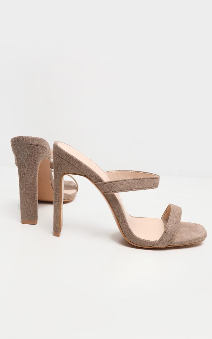 Nude Twin Strap Flat Heel Mule Sandal 4