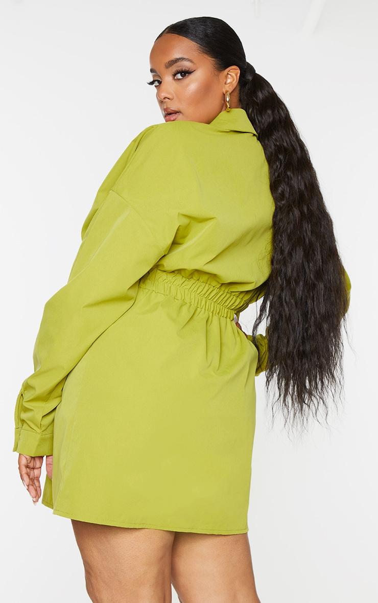Plus Olive Oversized Ruched Waist Shirt Dress 2