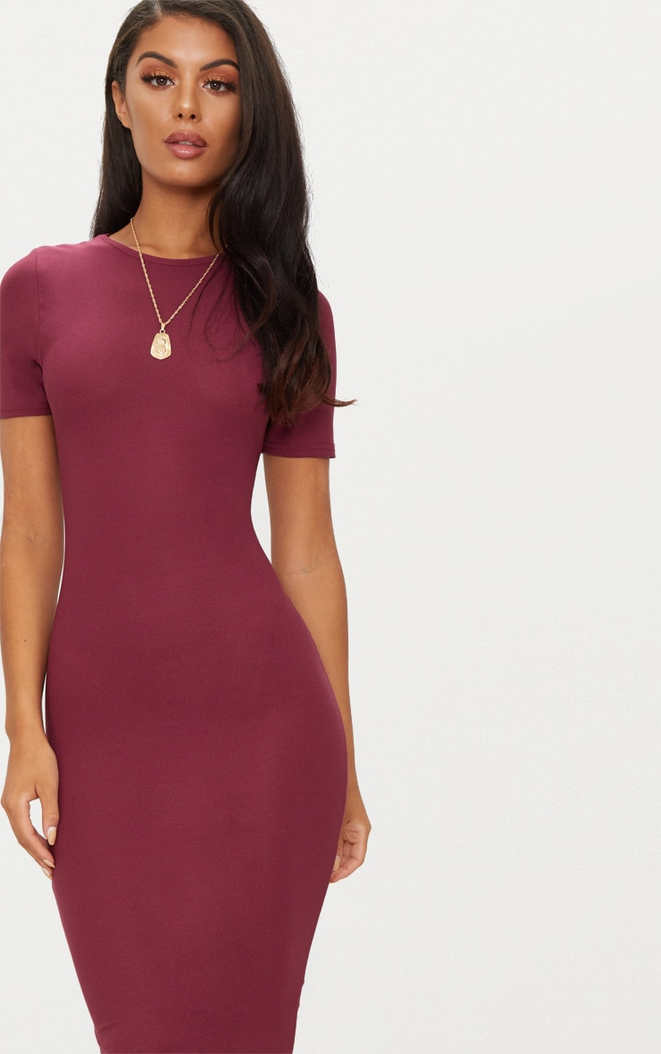 Burgundy Cap Sleeve Midi Dress  5