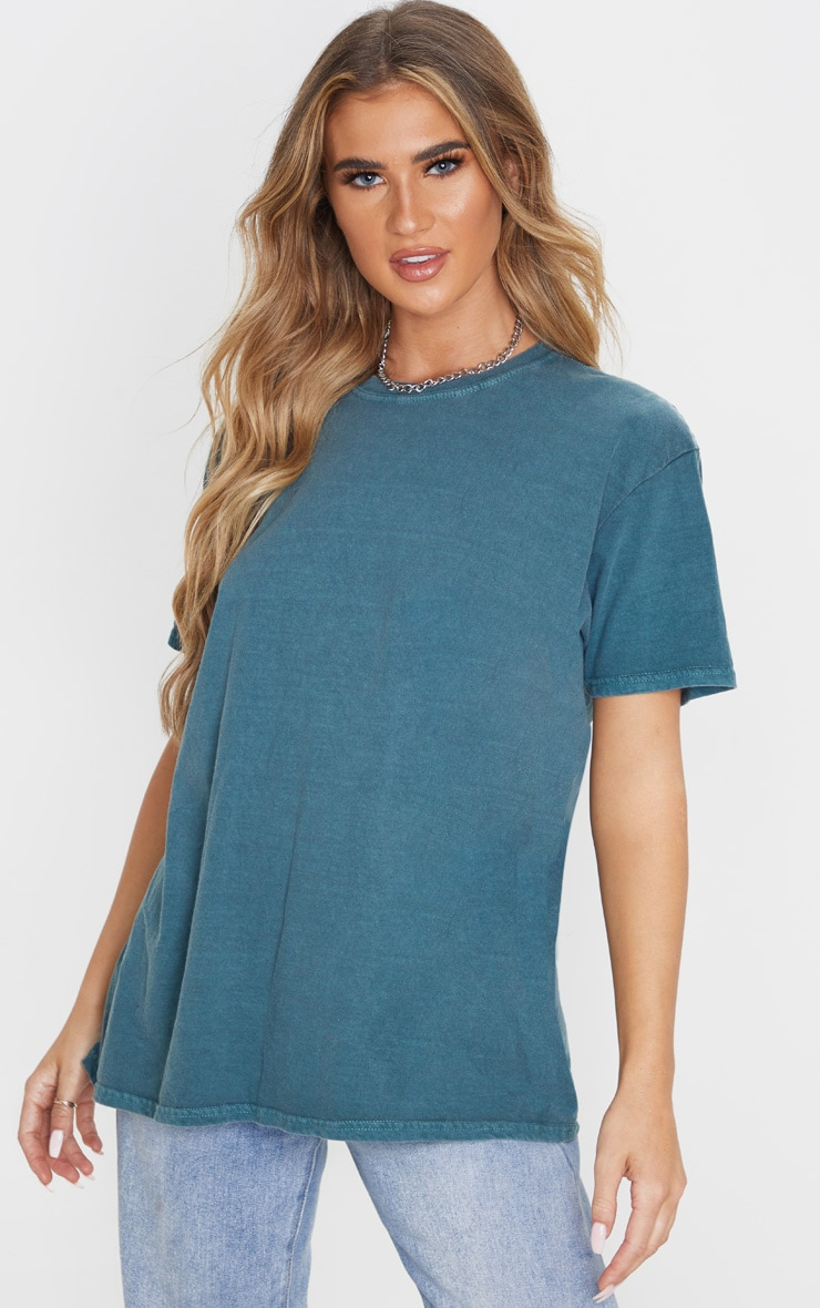 teal-washed-oversized-t-shirt by prettylittlething