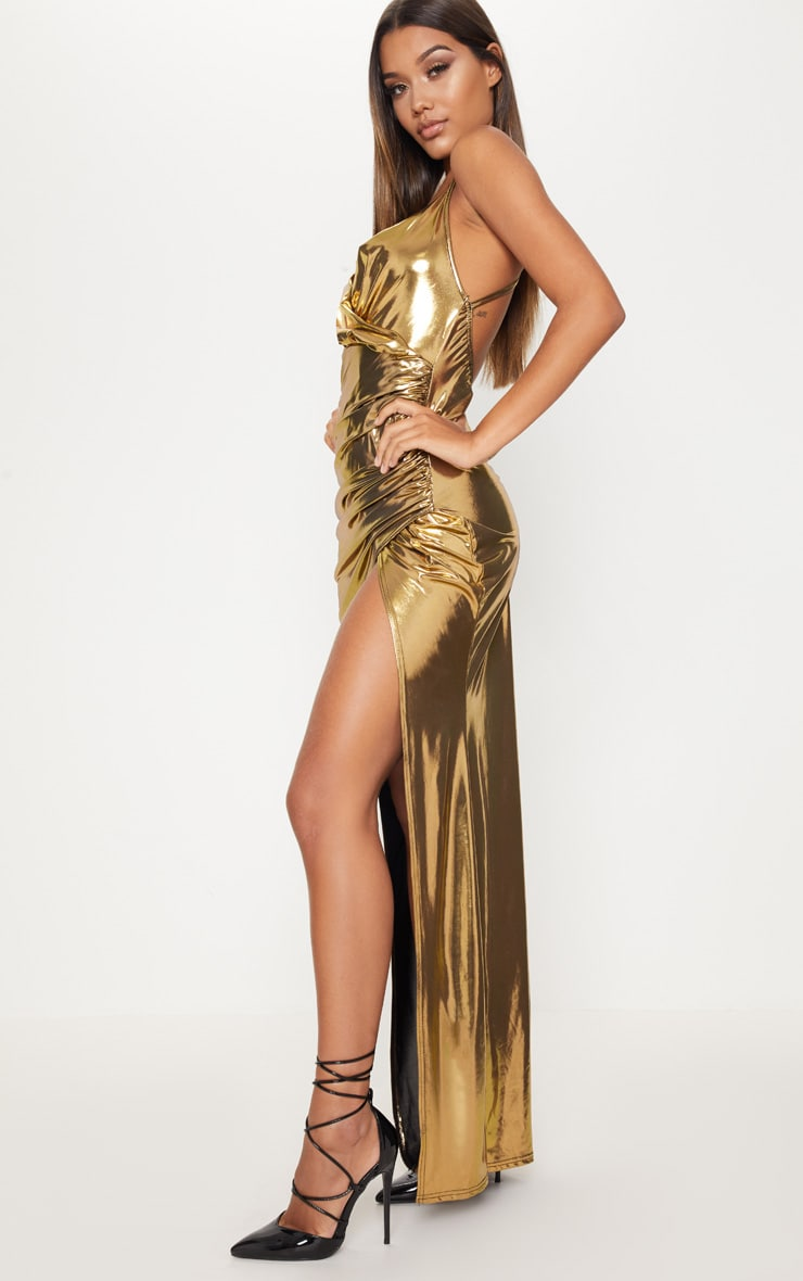 Gold Metallic Ruched Back Extreme Split Maxi Dress 4