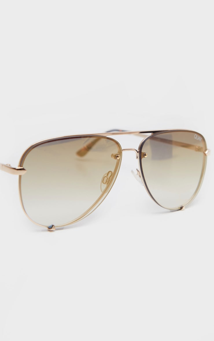 QUAY AUSTRALIA Gold High Key Rimless Sunglasses 4