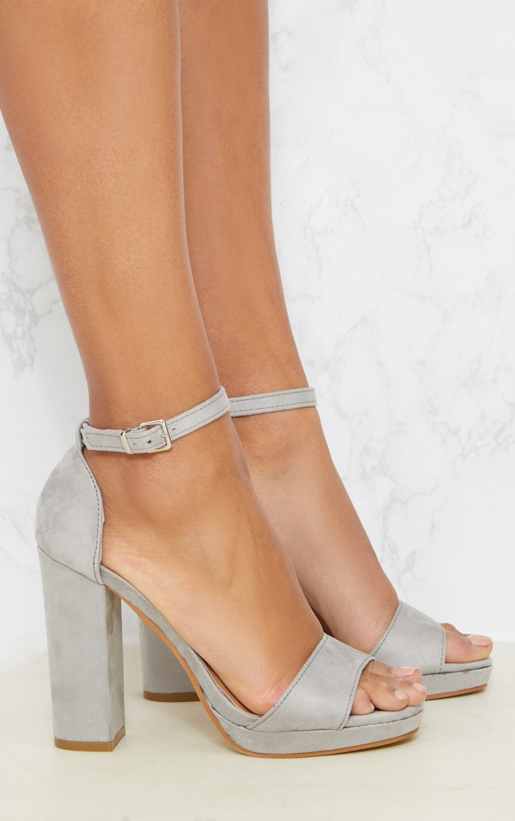 Grey Faux Suede Platform Sandals 4
