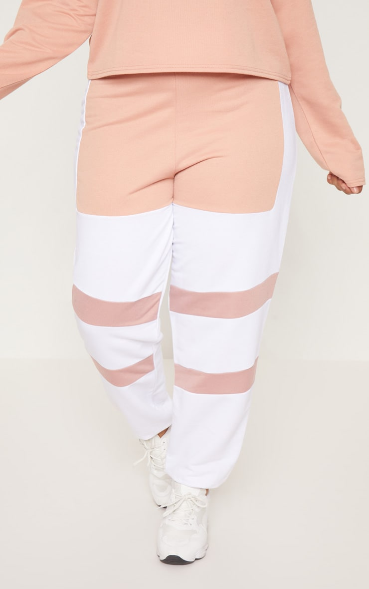 Plus White Contrast Panel Joggers 2