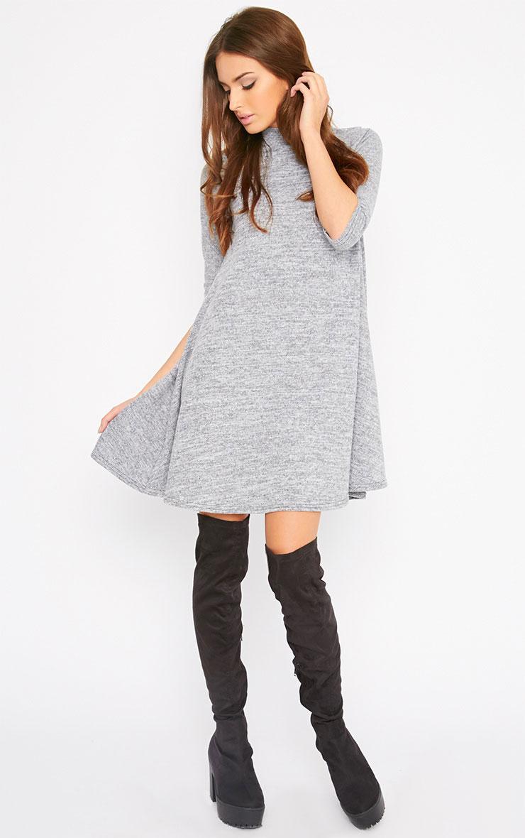 Haden Grey Turtle Neck Knitted Swing Dress  4