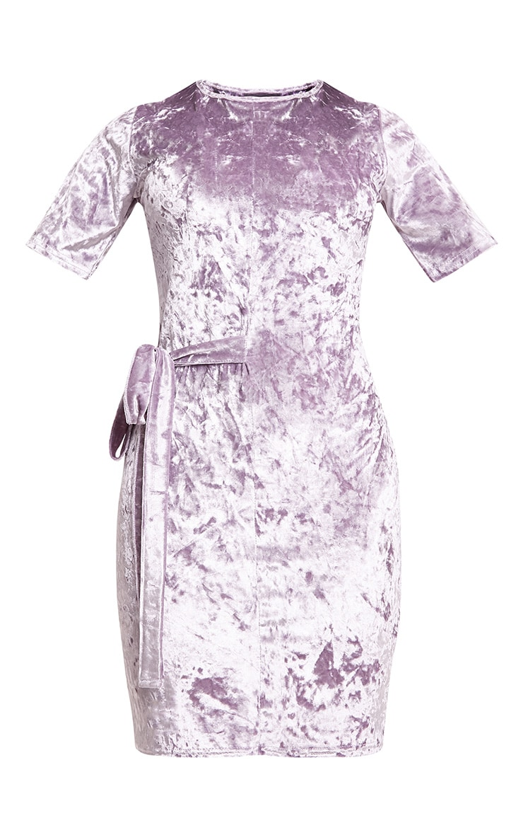 Lula Lilac Crushed Velvet Tie Side T Shirt Dress  3